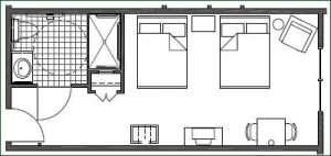 Floor plan 2 Full Accessible with Roll-in Shower