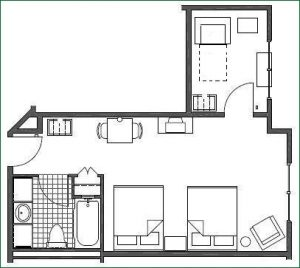 Floor plan 2 Queen Suite w/ Twin Sofabed